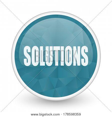 Solutions brillant crystal design round blue web icon.