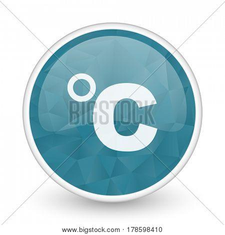 Celsius brillant crystal design round blue web icon.