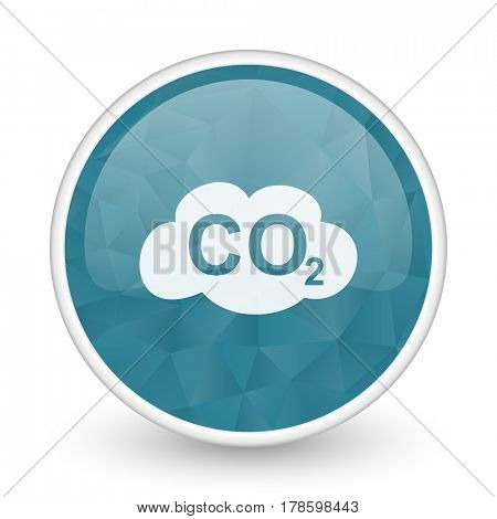 Carbon dioxide brillant crystal design round blue web icon.