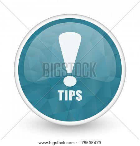 Tips brillant crystal design round blue web icon.