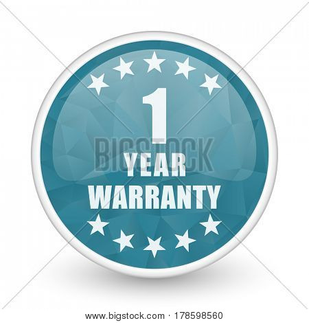 Warranty guarantee 1 year brillant crystal design round blue web icon.