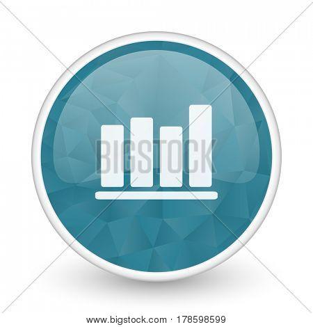 Bar chart brillant crystal design round blue web icon.