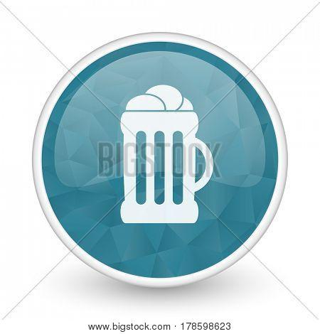 Beer brillant crystal design round blue web icon.