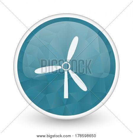 Windmill brillant crystal design round blue web icon.