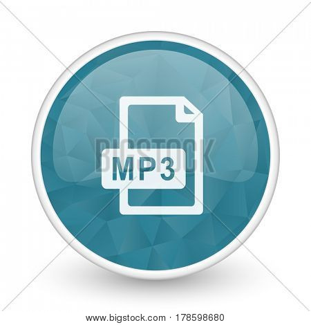 Mp3 file brillant crystal design round blue web icon.