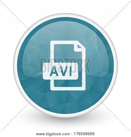 Avi file brillant crystal design round blue web icon.