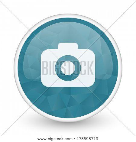 Photo camera brillant crystal design round blue web icon.