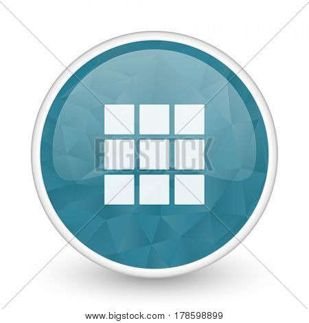 Thumbnails grid brillant crystal design round blue web icon.