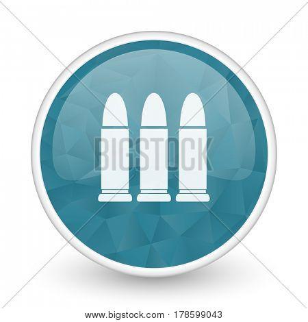 Ammunition brillant crystal design round blue web icon.