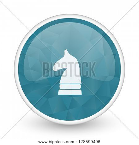 Chess horse brillant crystal design round blue web icon.