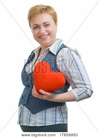 Pregnancy Woman With Red Heart, Isolated Over White