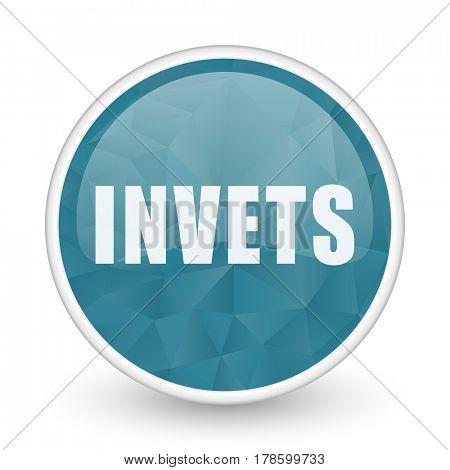 Invest brillant crystal design round blue web icon.