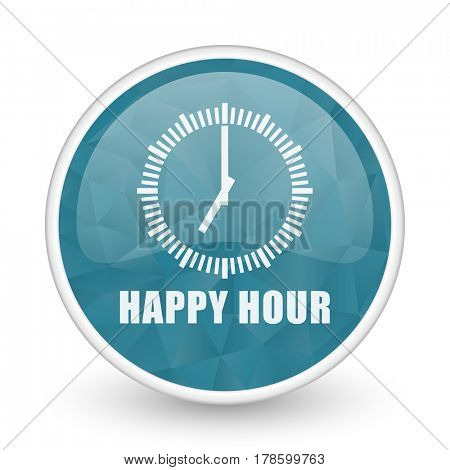 Happy hour brillant crystal design round blue web icon.