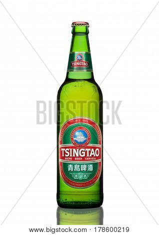 LONDONUK - MARCH 23 2017 : Bottle of Tsingtao beer on white background.Tsingtao is China's second largest brewery it was founded in 1903 by German settlers.