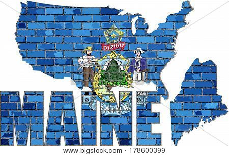 Maine on a brick wall with effect - 3D Illustration