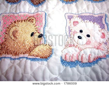 Cross-Stitched Teddy Bear Quilt 4