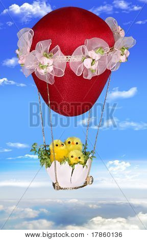 Three Easter Chickens On A Balloon