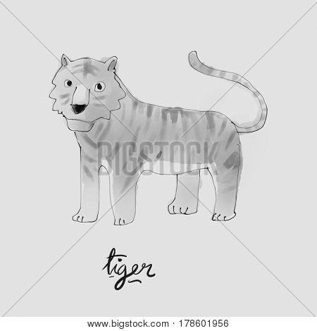 Tiger Watercolor illustration