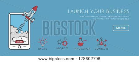 Flat illustration of smartphone with Rocket launcing. Business start up Call to Action