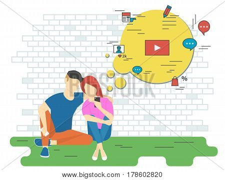 Keeping track concept illustration of young man and woman using smartphone for watching video, online shopping, chatting, newa reading and networking. Flat design of people addicted to network