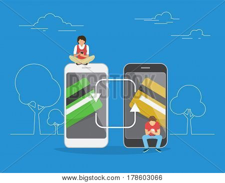 Mobile banking and money transfering concept illustration of people using mobile app for money transfering to each other and online banking. Flat men and women sitting on smartphones with credit cards