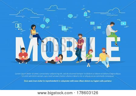 Mobile devices usage concept illustration of young men and women using mobile devices such as smartphone and digital tablet. Flat people addicted to gadgets and typing comment in community and network