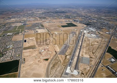 High level aerial view of the Goodyear airport and surrounding area poster