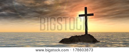 Concept or conceptual 3D illustration christian cross standing on rock in the sea or ocean over beautiful sunset sky banner
