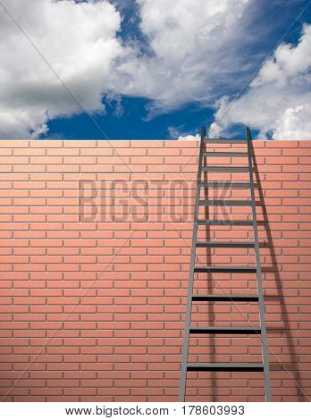 Ladder leans on wall with sky  3D Rendering