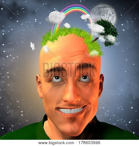 Man with grassy head and other natural elements  3D Rendering  Some elements provided courtesy of NASA