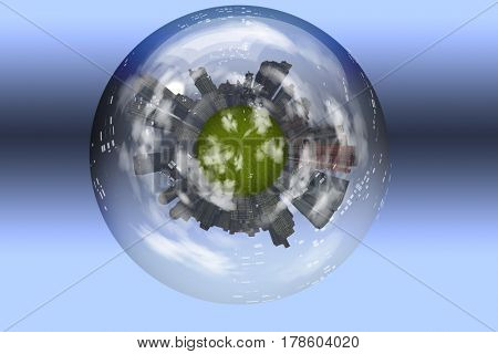 Sphere enclosed green city planet  3D Rendering