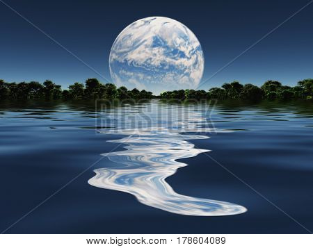 Terraformed Moon from Earth or Exo Solar Planet   3D Rendering  Some elements provided courtesy of NASA