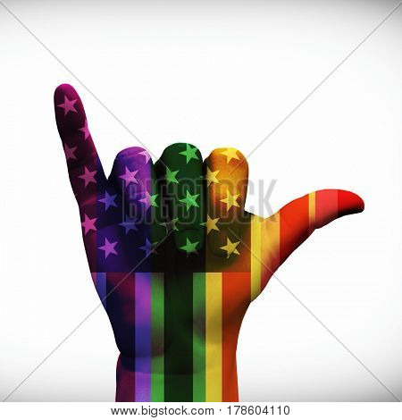 USA Hang Loose Rainbow Hand   3D Rendering