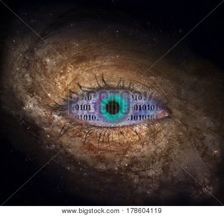 Supernova eye with binary code   3D Rendering  Some elements provided courtesy of NASA