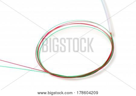 Optical fiber cable on a white background