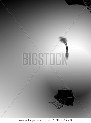 Man in surreal white space   3D Rendering