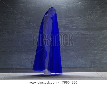 Figure hunched over under transparent cloth   3D Rendering