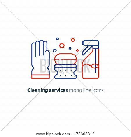 Cleaning services set, rubber glove, soap bubbles with sponge and spray bottle, household and housekeeping hygiene items, equipment and supplies, mono line vector icon collection