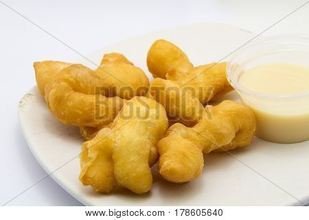 The brakfast food of Thailand. deep fried dough stick with space. Pansy food of Thailand.