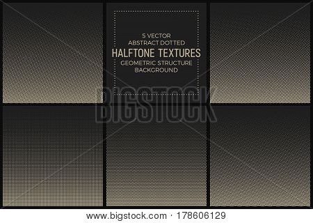 Set of 5 Vector Abstract Dotted Halftone Textures. Pale Geometric Structure Background