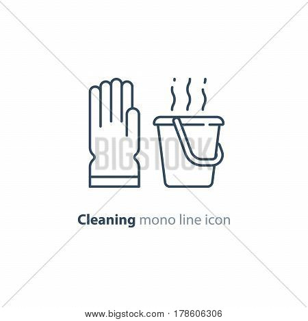 Cleaning services set, rubber glove and hot water bucket, household and housekeeping hygiene items, equipment and supplies, mono line vector icon collection