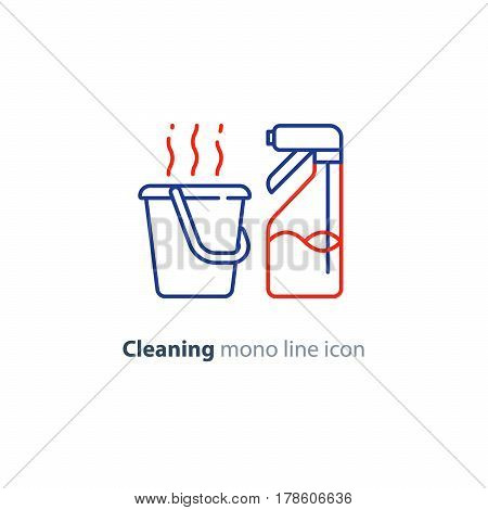 Cleaning services set, spray bottle and hot water bucket, household and housekeeping hygiene items, equipment and supplies, mono line vector icon collection