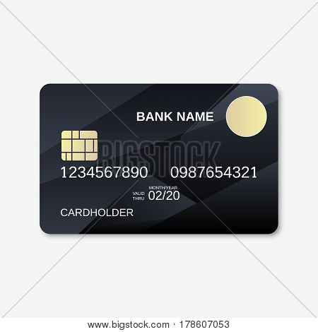 Bank card vector design template. Carbon with reflections background
