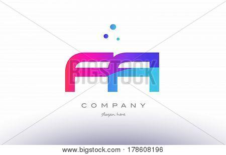 Fa F A  Creative Pink Blue Modern Alphabet Letter Logo Icon Template
