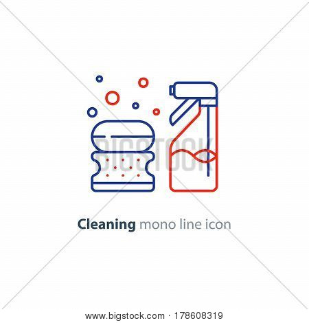 Cleaning services set, soap bubbles with sponge and spray bottle, household and housekeeping hygiene items, equipment and supplies, mono line vector icon collection