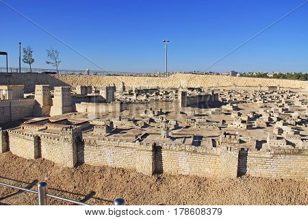 Model of ancient Jerusalem at the time of the second temple.  Including the Temple Mount, Antonia Fortress, Sheeps Pool or Pool of Bethesda and Market, Alexander Jannaeus Monument, second wall, and new city.