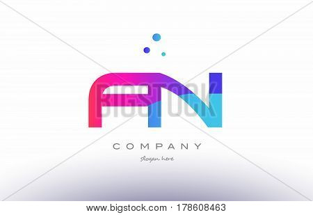 Fn F N  Creative Pink Blue Modern Alphabet Letter Logo Icon Template
