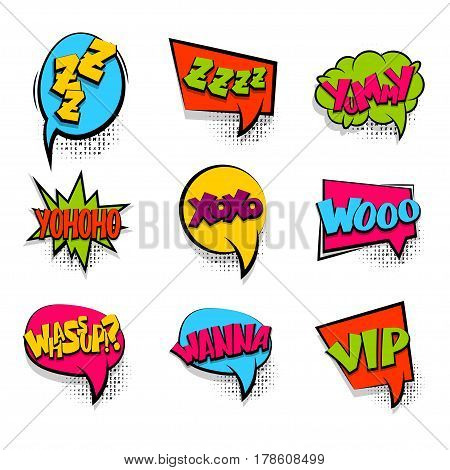 Zzz sleep set colored comic text sound effects halftone pop art style. Vector bubble icon speech phrase cartoon exclusive font burst sounds dot background. Comics book balloon