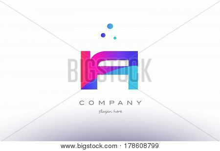 Ia I A  Creative Pink Blue Modern Alphabet Letter Logo Icon Template