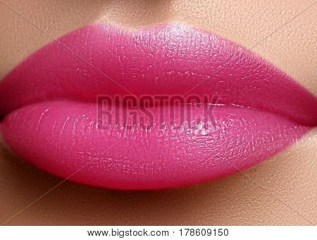 Cosmetics, Makeup. Bright Lipstick On Lips. Closeup Of Beautiful Female Mouth With Pink Lip Makeup.